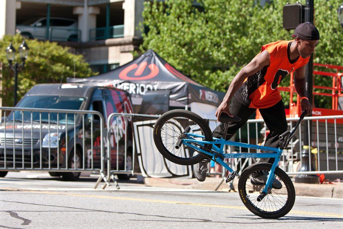 Performing a BMX trick