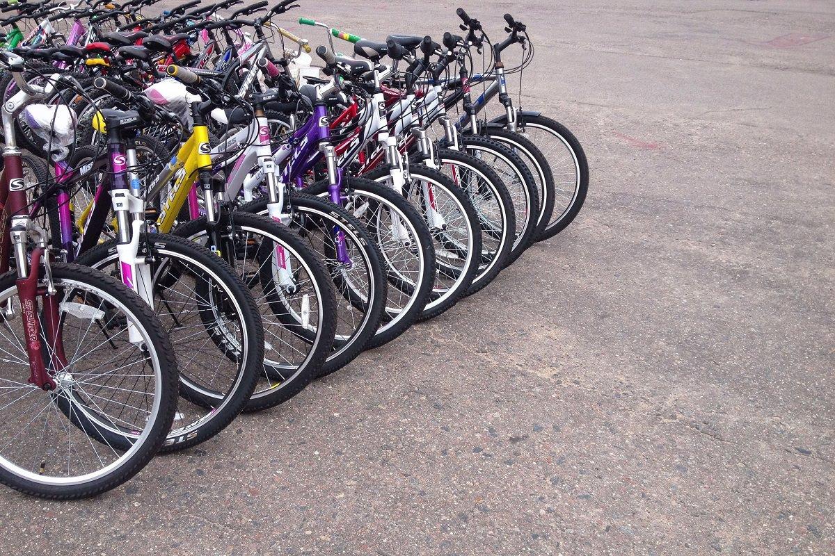 A row of bikes