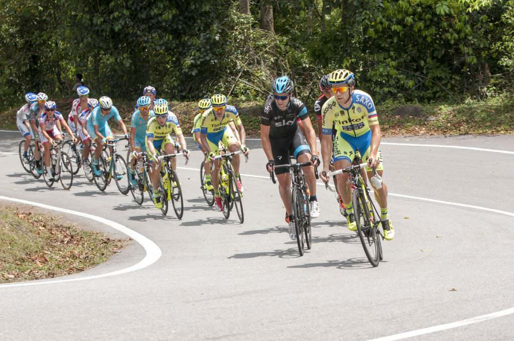 Group of cyclists on road bikes