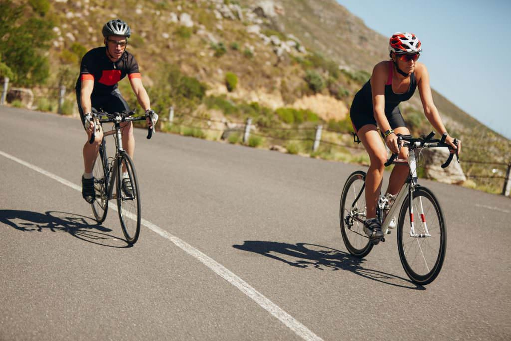 Riding road bikes together