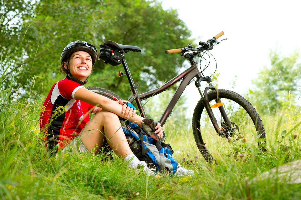 Happy mountain biker