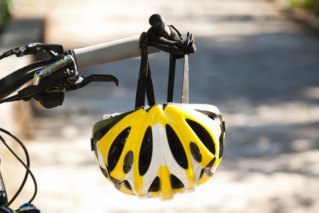 Bike helmet on a handlebar