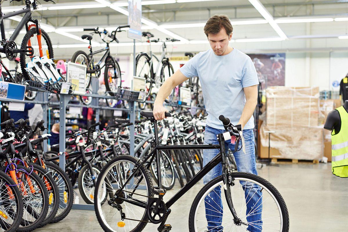 Man testing a new bike