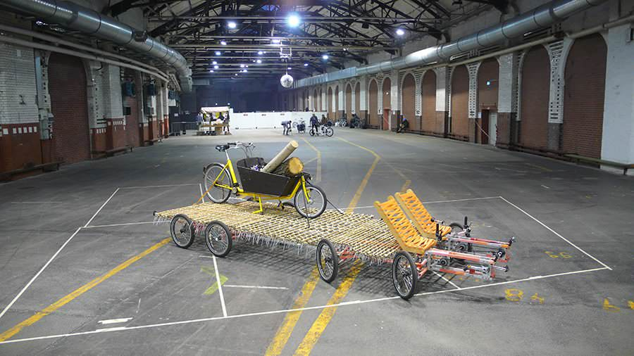 8rad bike in a huge room