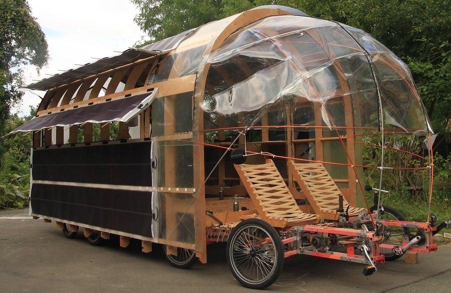 8rad bike with solar panels and rain cover