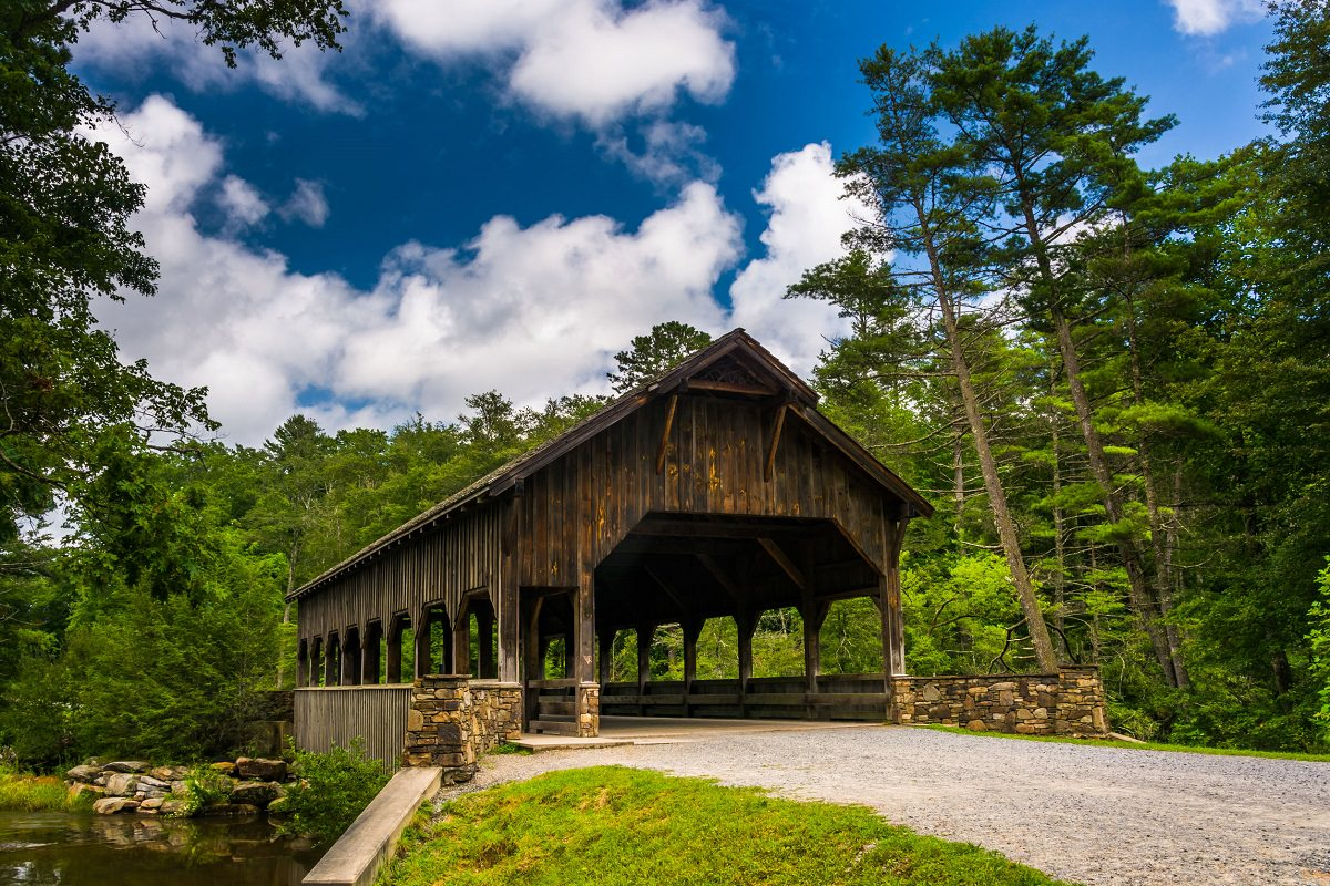 Covered bridge in the forest
