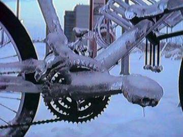 Ice covered bike in Ottawa, Canada