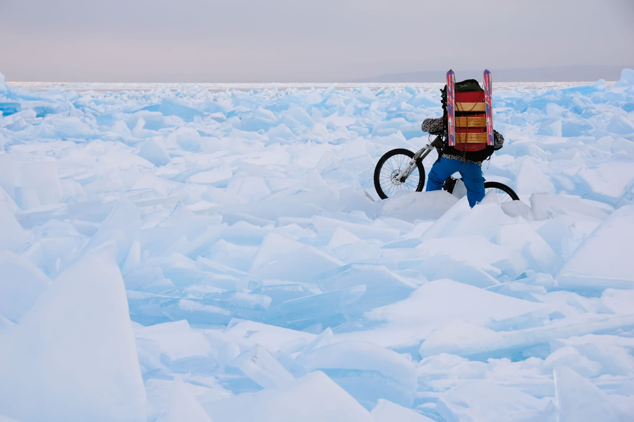 Ice biking gear, backpack