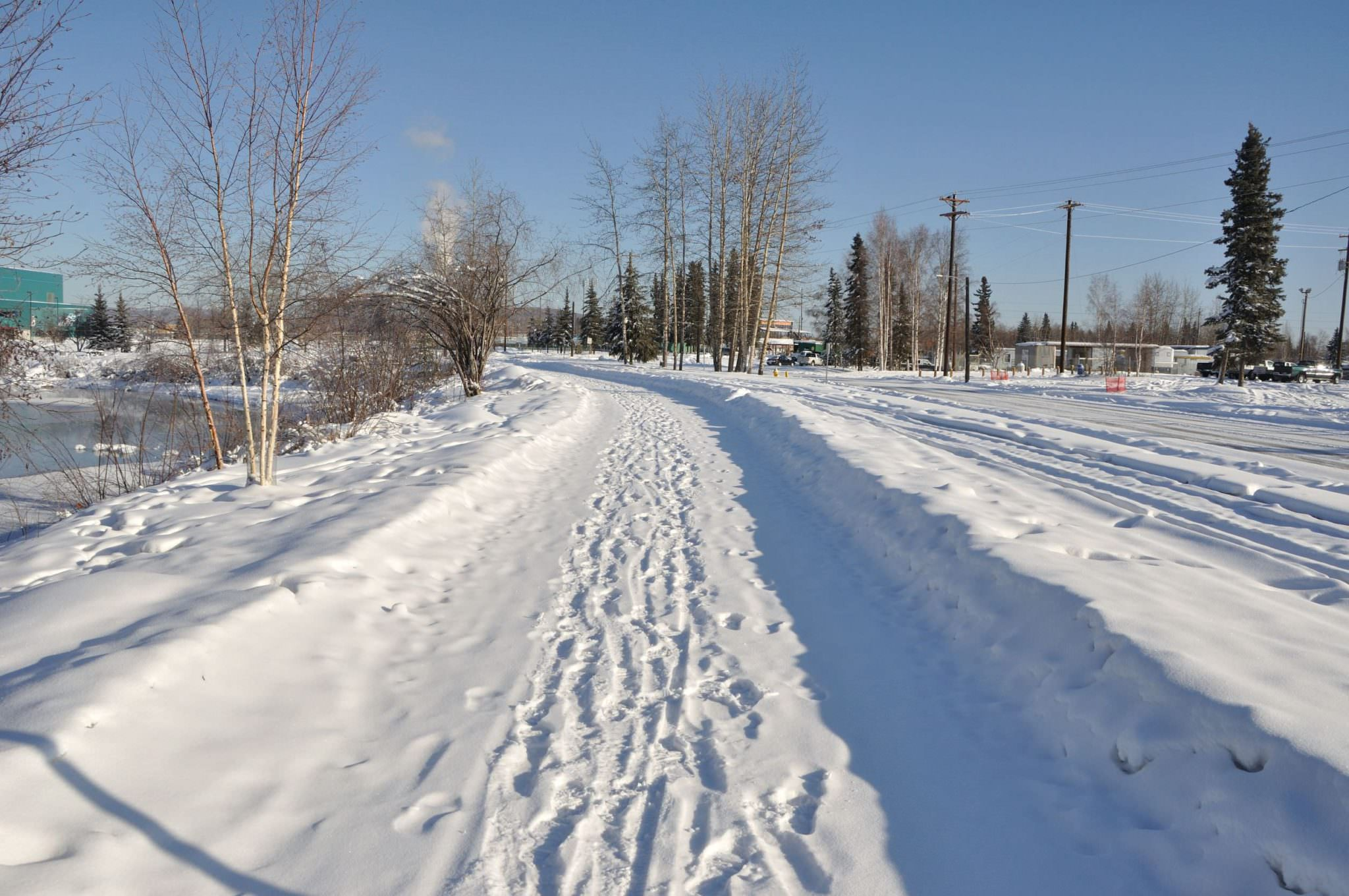 Ice road with bike tracks