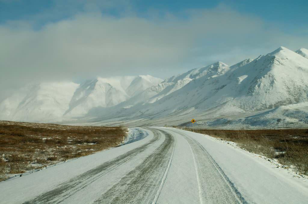 Ice covered road in Alaska