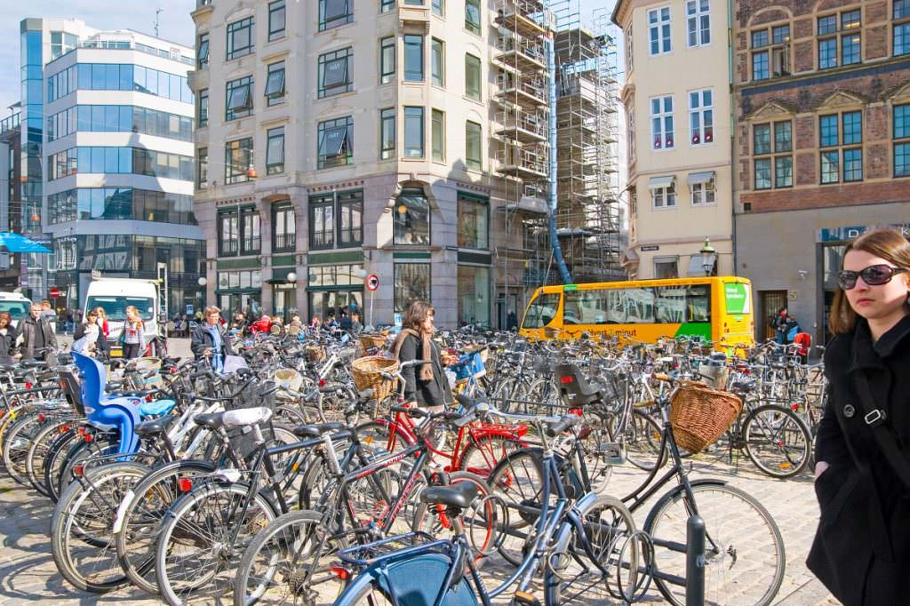 Lots of parked bikes