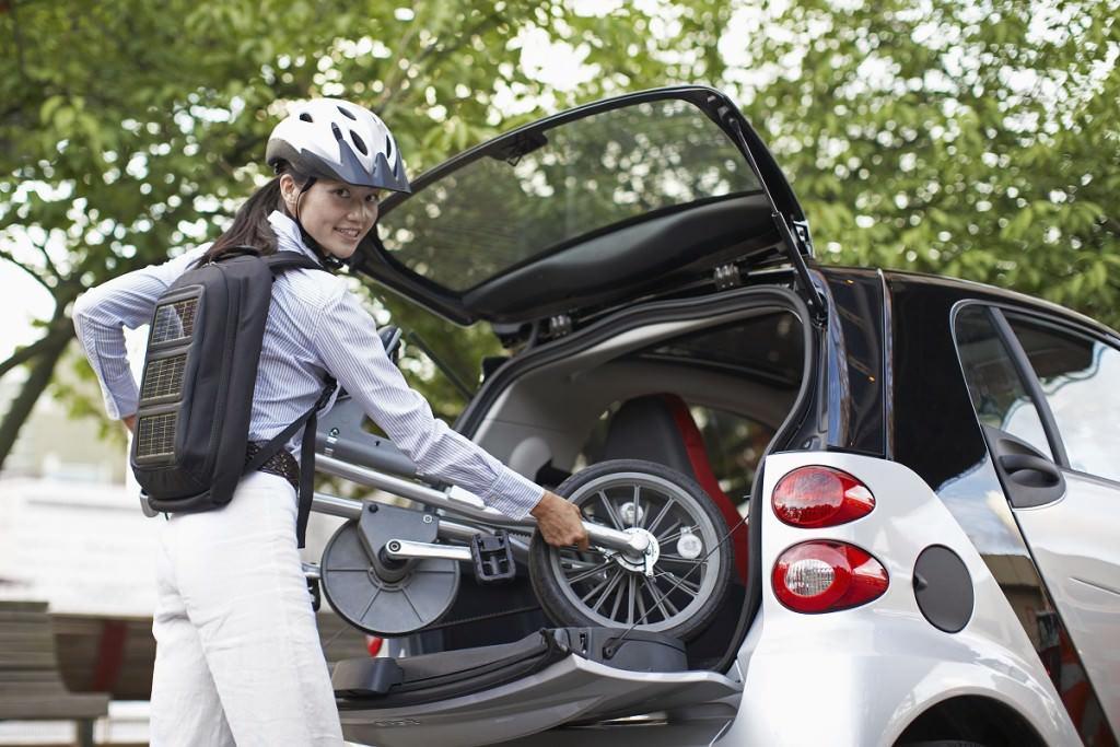Folding bike in car trunk