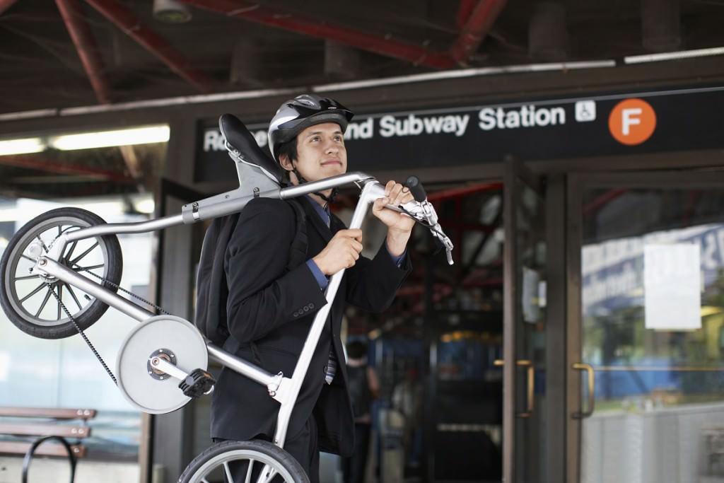 Folding bike at train station