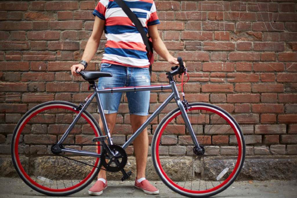 Hybrid Bicycle with red wheel rims