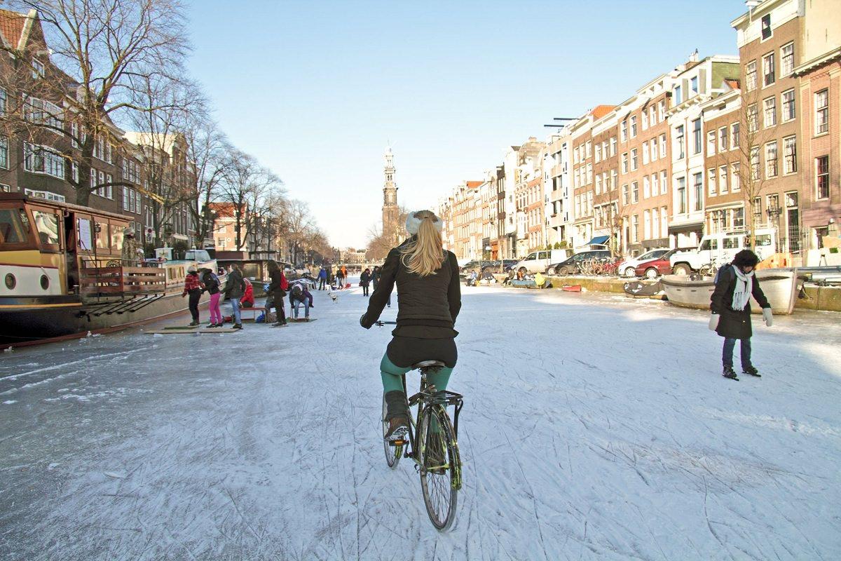 Bike on a snowy street