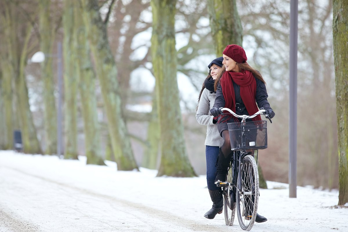 Biking in the snow together