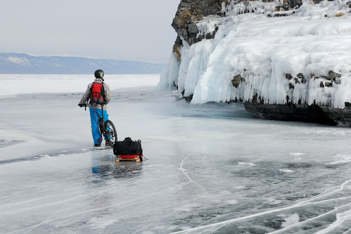 Crossing an ice covered lake