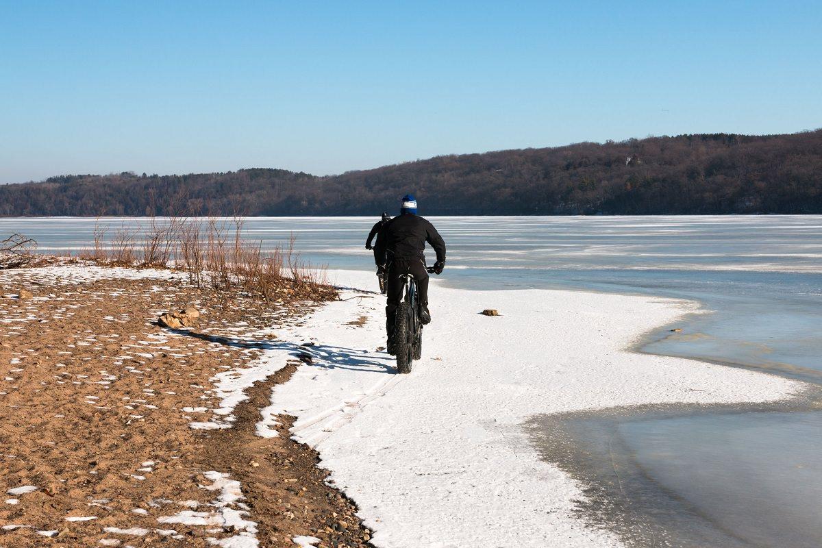 Biking on snowy path