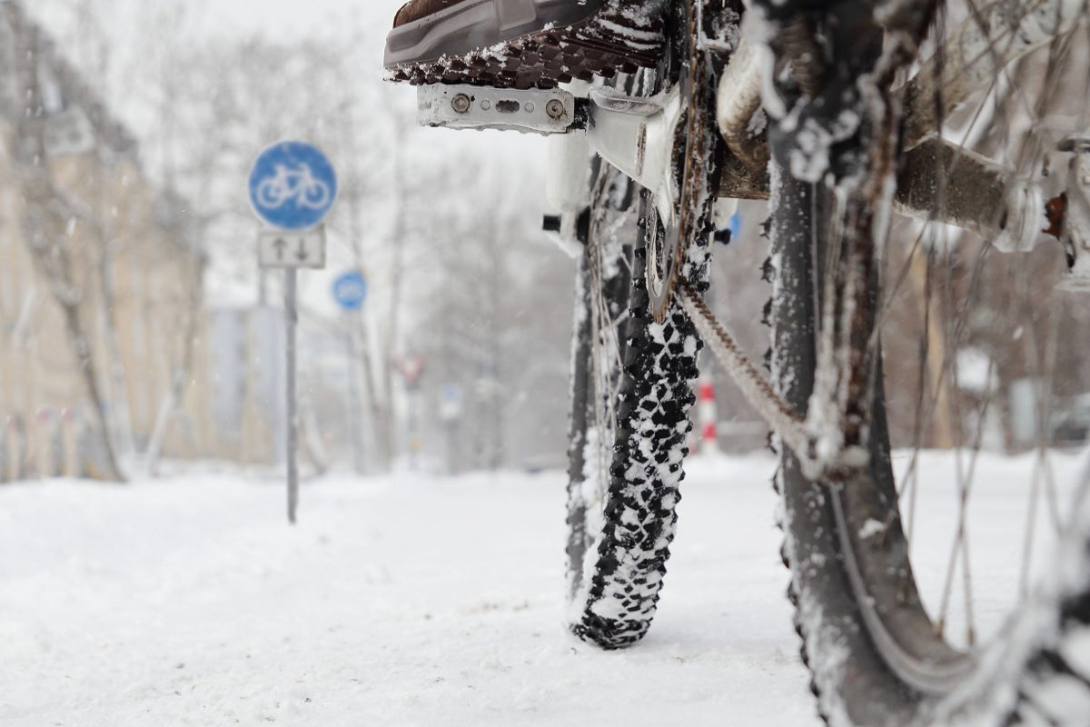 Snow covered bike tires