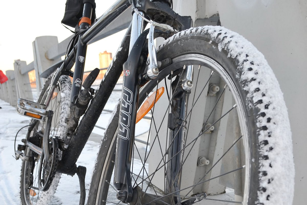 Snow covered bike tire