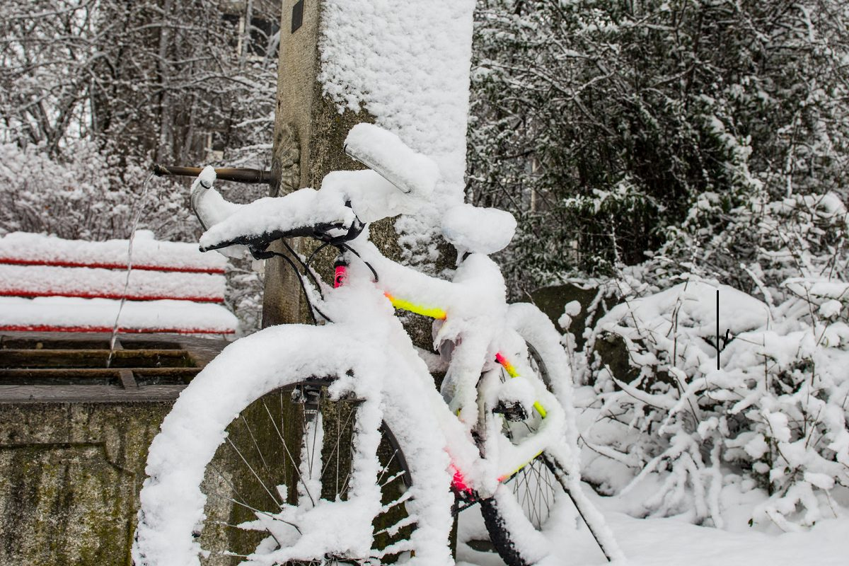 Bike left in the snow
