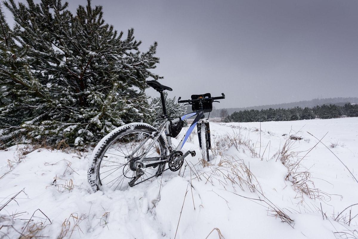 Bike stuck in the snow