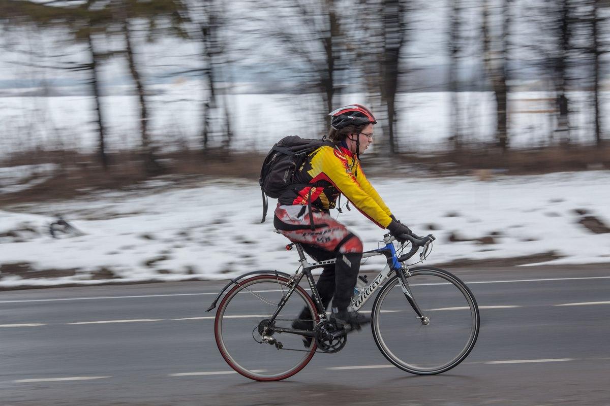 Light winter road biking