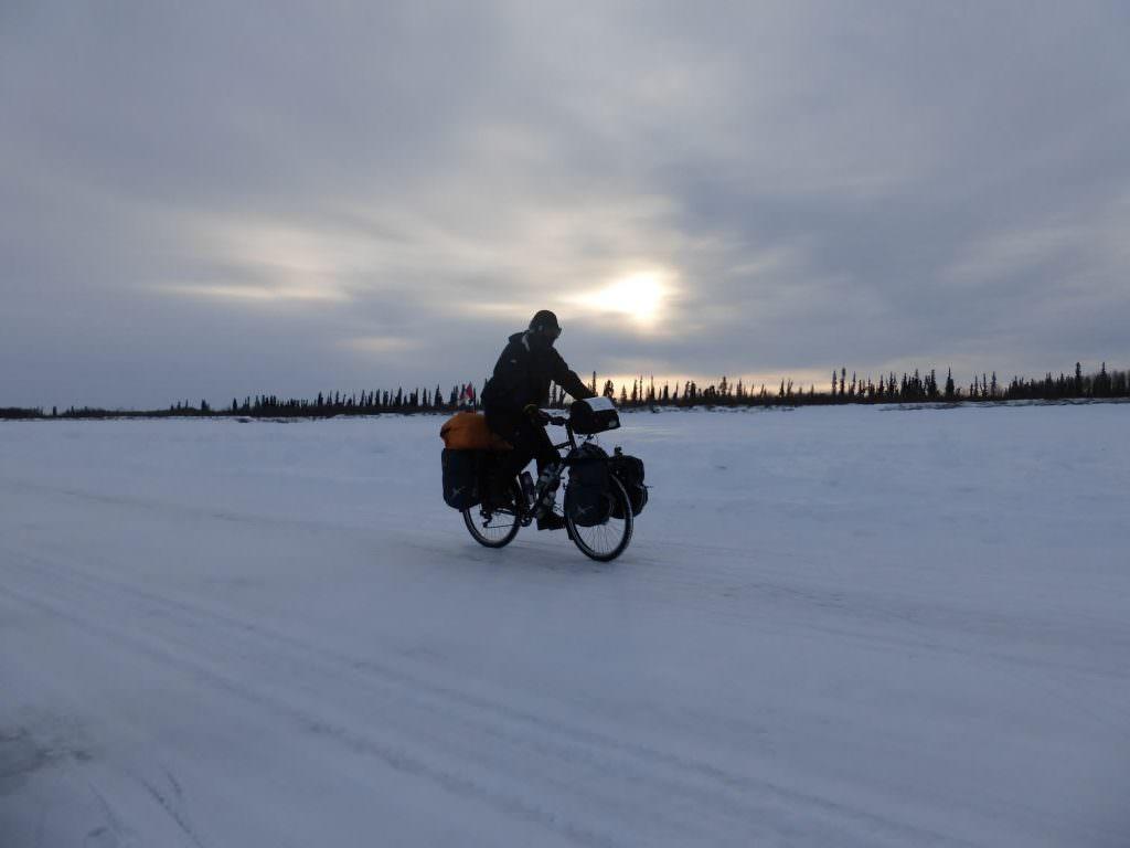 Biking on icy road