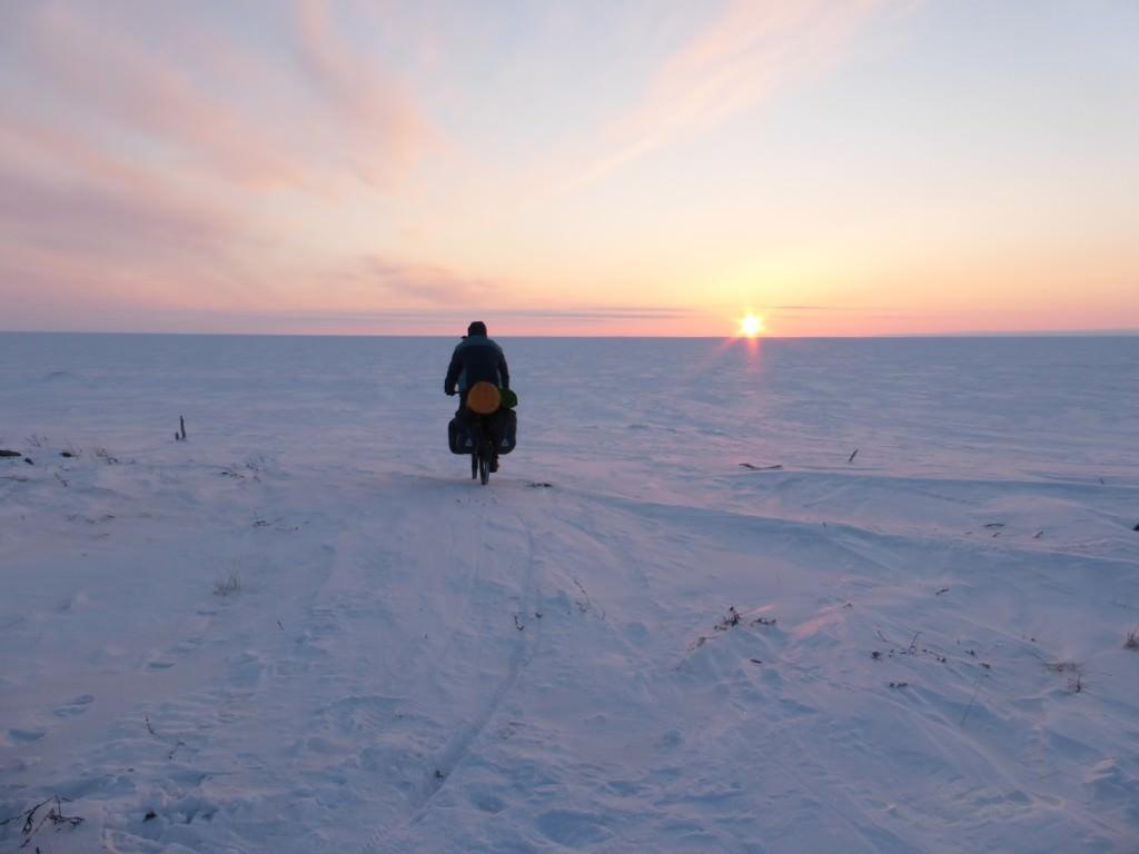 Sunset winter biking