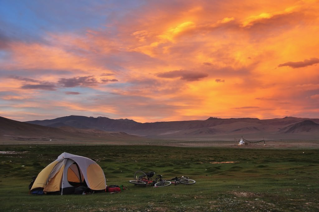 Tent in the sunset