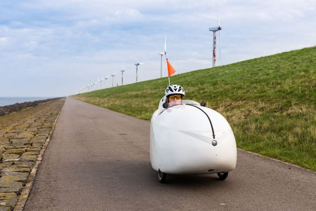 Velomobile on bike lane