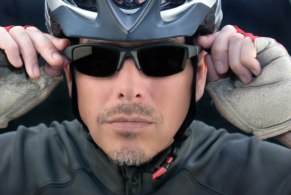 Sunglasses and bike helmet
