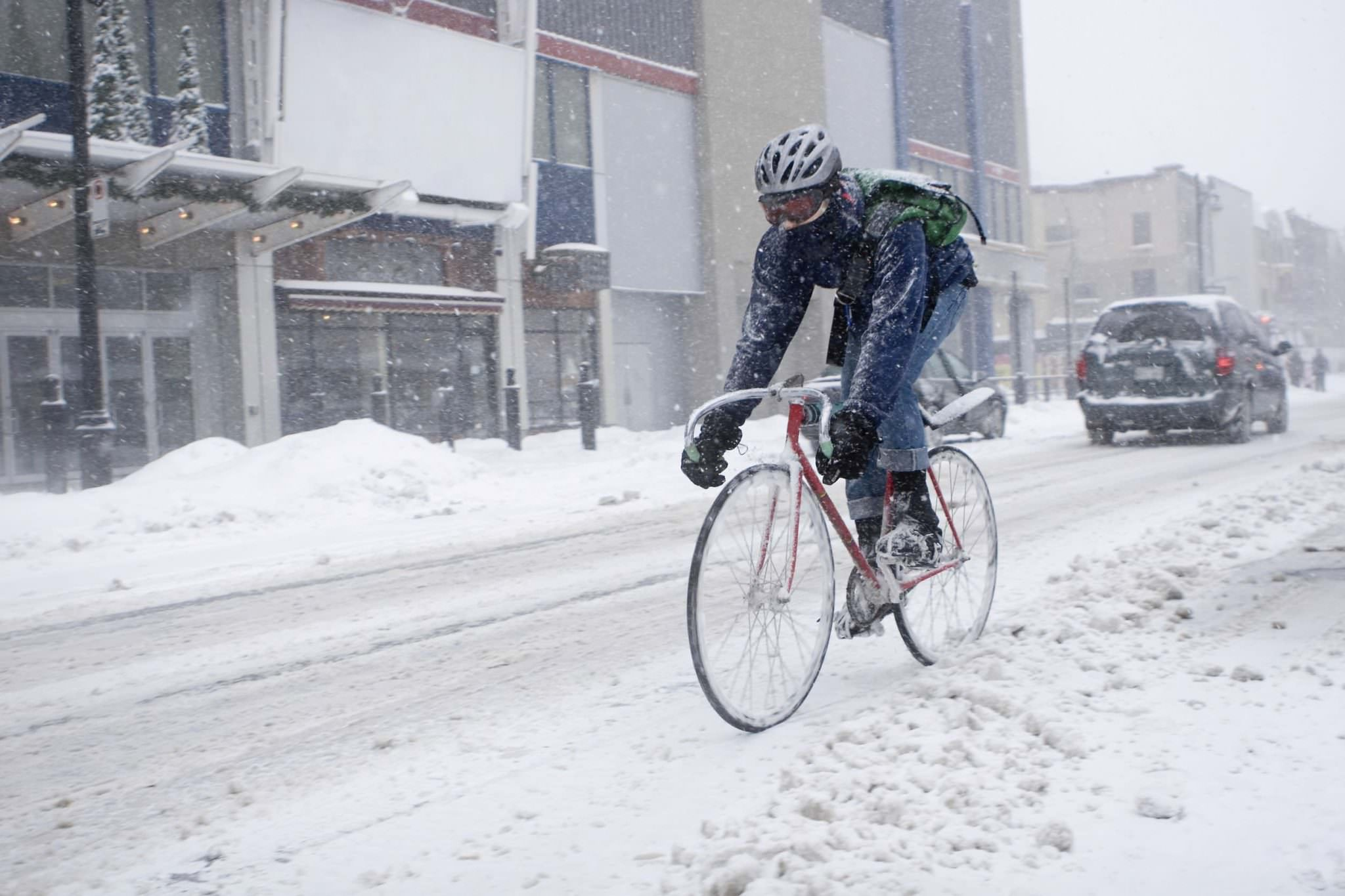 Winter cycling in a blizzard