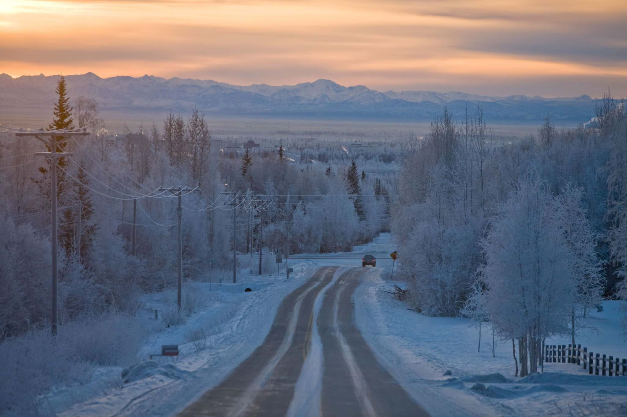 Ice covered Alaska road