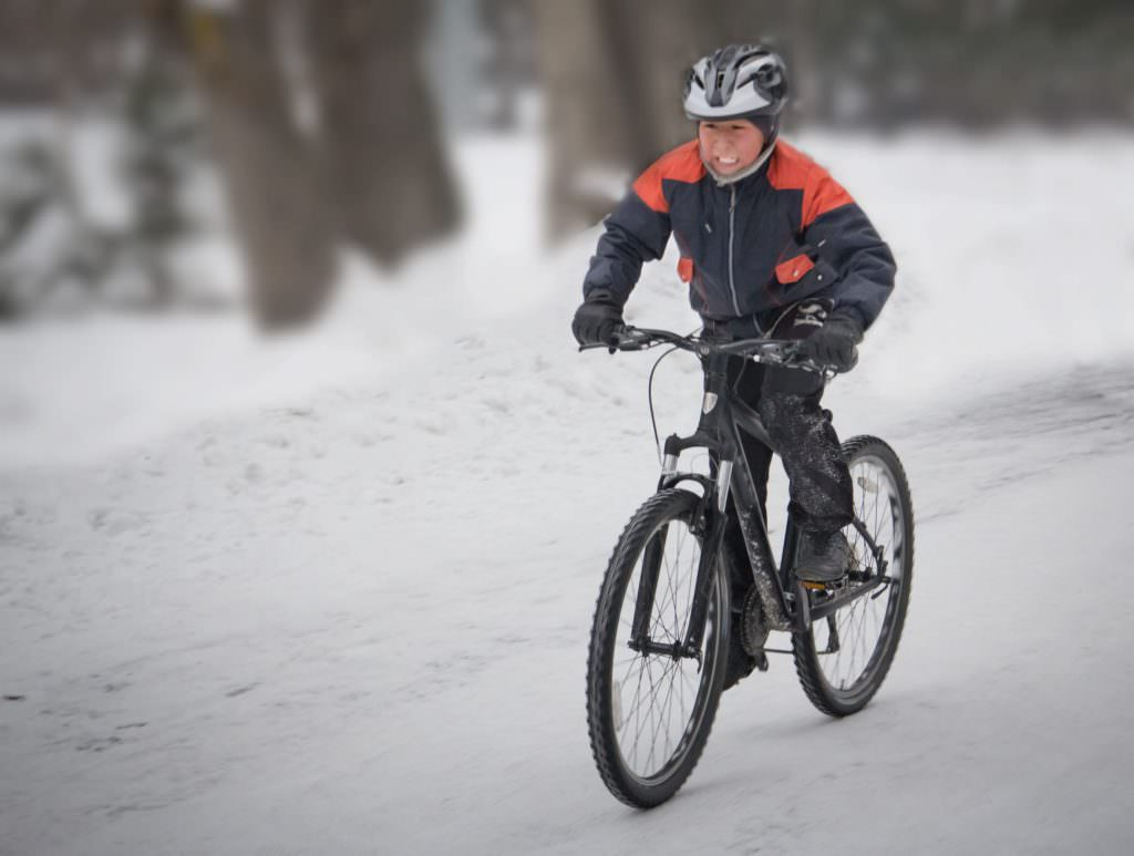 Winter cyclist with gloves
