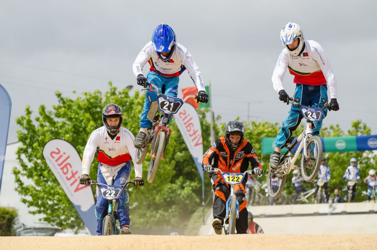 Biker jumping in a competition