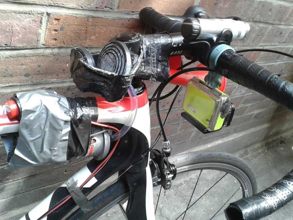 Dave Sherry road bike, handlebar and cameras
