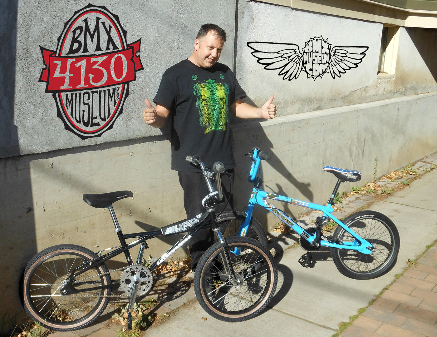 Gary Sansom with 2 BMX bikes