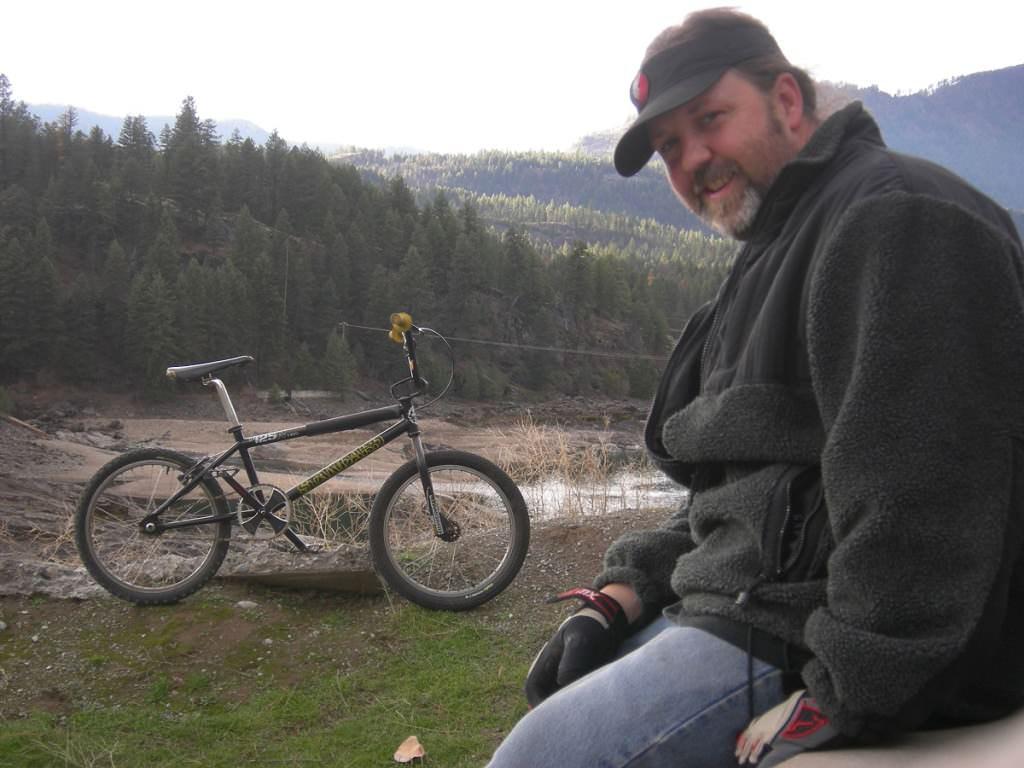 Gary Sansom outside with BMX bike