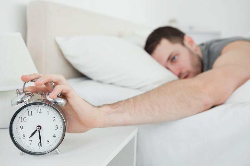 Awakened by alarm clock