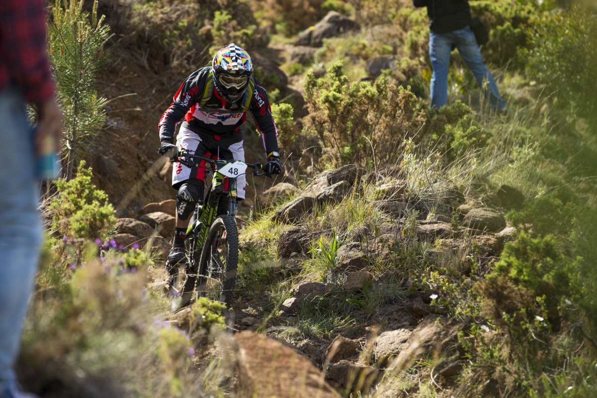 Racing in mountain bike competition