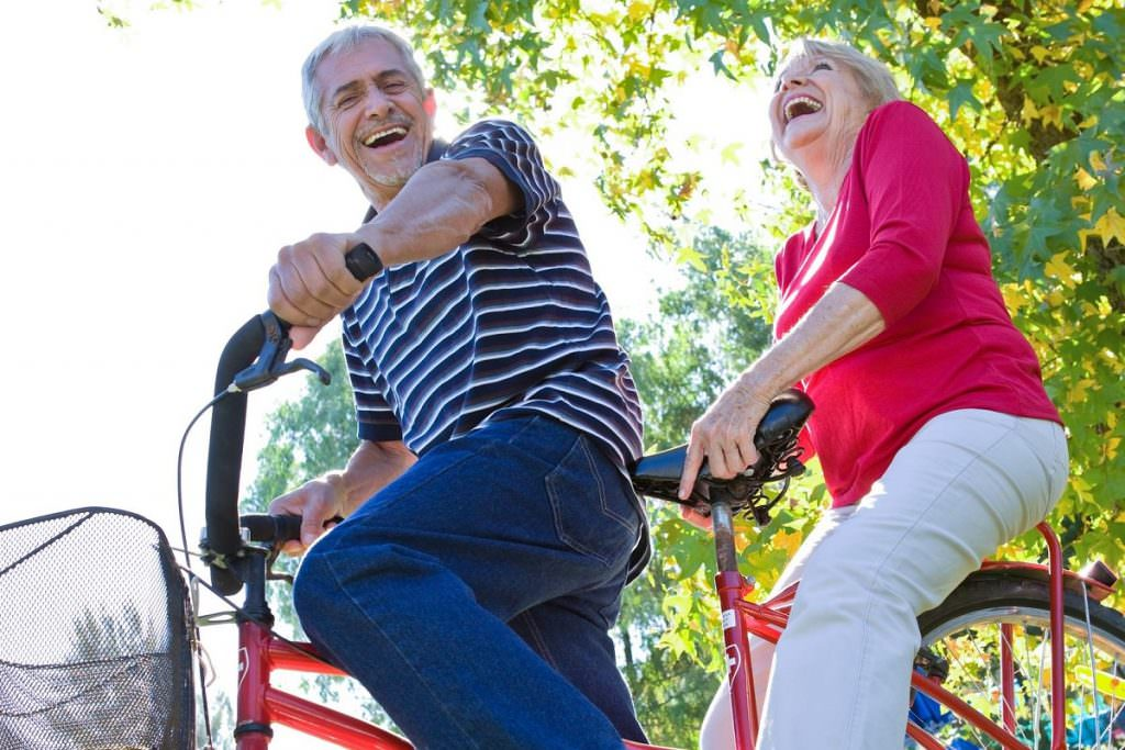Old couple on tandem