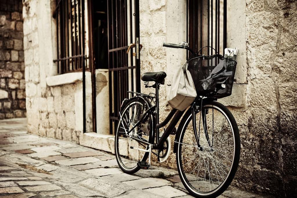 Old black steel bike