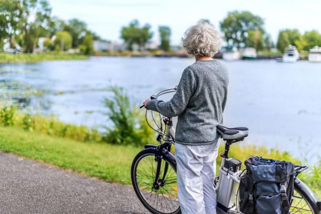 Woman with an e-bike