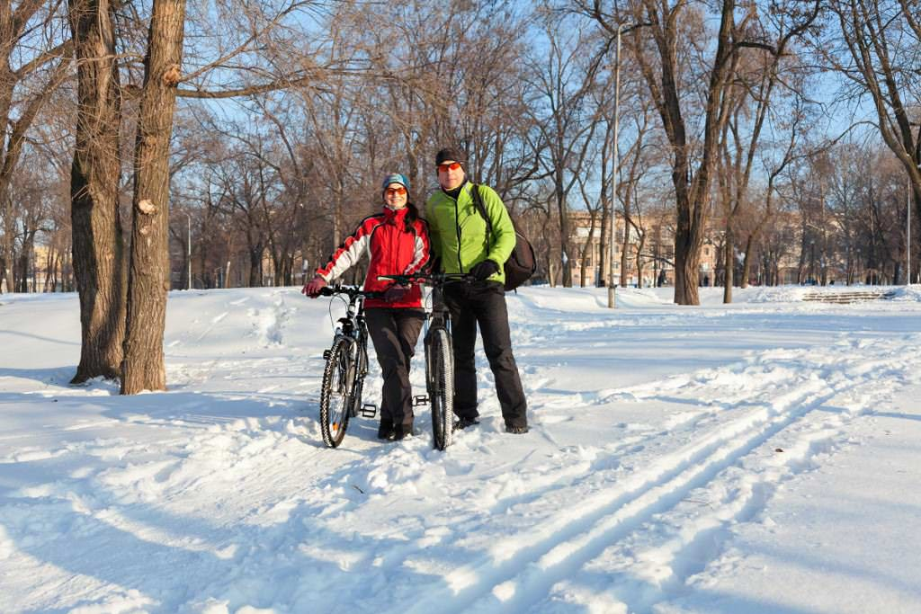 Biking outside during the winter