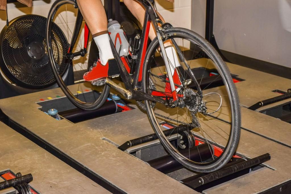 Road bike training on rollers