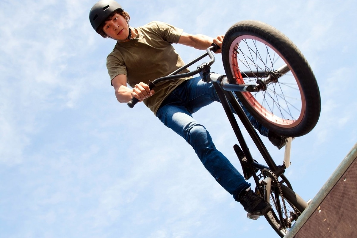 Rider showing his skills with his bmx bike
