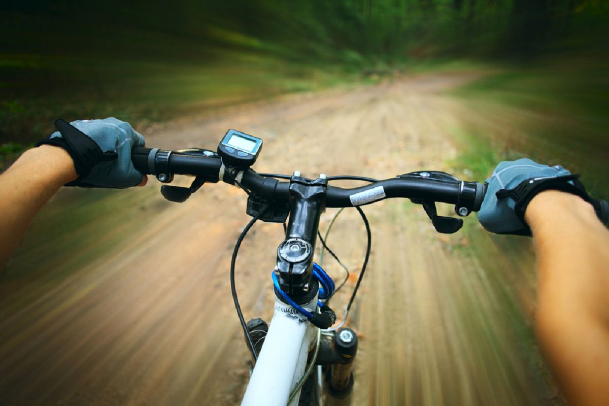 Riders view of riding a bike off road