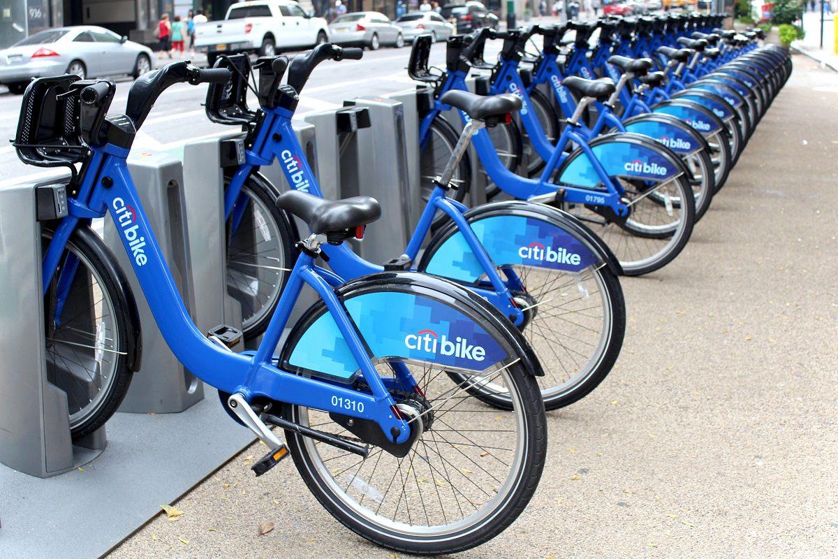 City bikes doked at station