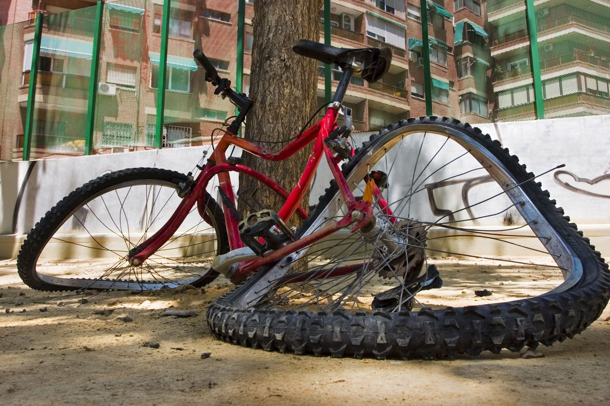 Deformed bicycle after accident